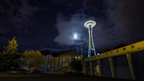 Cloudy Night in Seattle by the Space Needle Footage