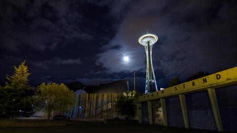 Cloudy Night in Seattle by the Space Needle Stock Video Footage