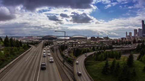 High Impact Busy Traffic in Seattle Freeway Stock Video Footage