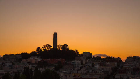 San Francisco Sunrise by Coit Tower Stock Video Footage