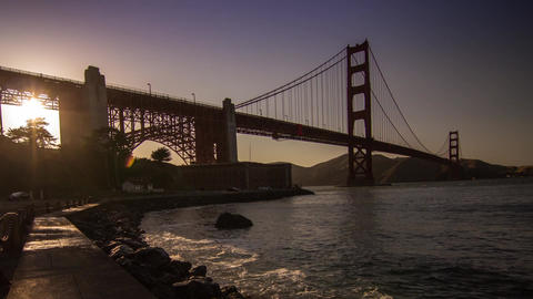 Golden Gate Bridge by sunset time Stock Video Footage