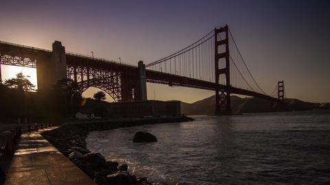 Golden Gate Bridge By Sunset Time stock footage