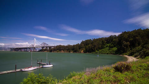 Treasure Island view of Bay Bridge to Oakland Footage