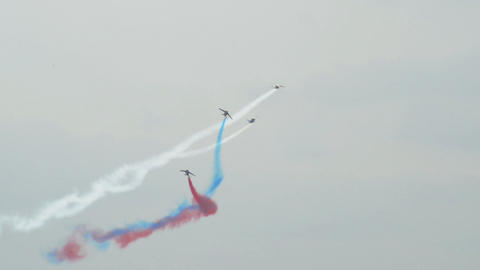Patrouille France four soloists roll around 10974 Stock Video Footage