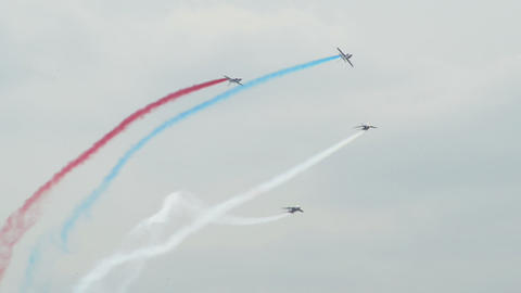 Patrouille France four soloists roll around 10974 Footage