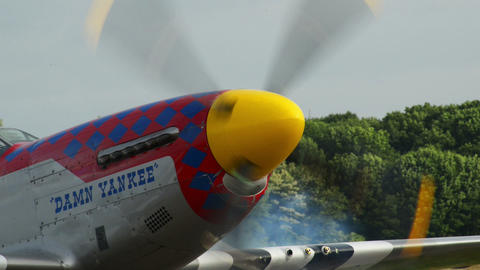 Mustang P 51 engine start 10976 Stock Video Footage