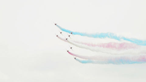 Red Arrows concorde formation 10986 Stock Video Footage