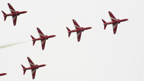 Red Arrows concorde formation 10986 Stock Video Footage