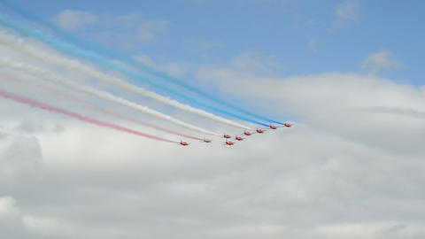Red Arrows start airshow 10992 Stock Video Footage