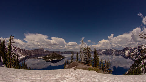 Cloudy Afternoon at Crater Lake Stock Video Footage