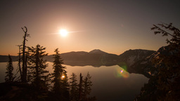 Sun Rising at Crater Lake Stock Video Footage