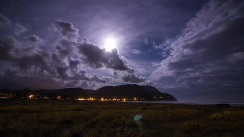 Night Clouds at Seaside Oregon Footage