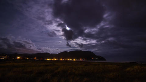 Night Clouds at Seaside Oregon Stock Video Footage