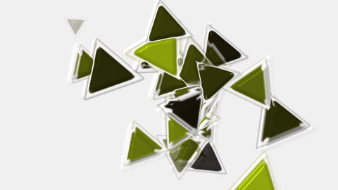 green plastic triangles card mosaics flying,abstract math... Stock Video Footage