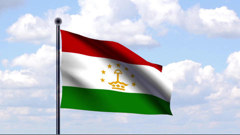Animated Flag of Tajikistan / Tadschikistan Stock Video Footage