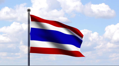 Animated Flag of Thailand Stock Video Footage