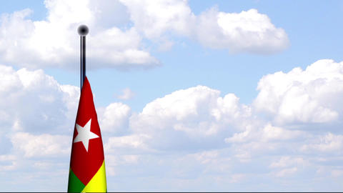 Animated Flag of Togo / Animierte Flagge von Togo Stock Video Footage