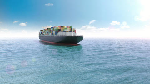 Cargo container ship in a sea Stock Video Footage