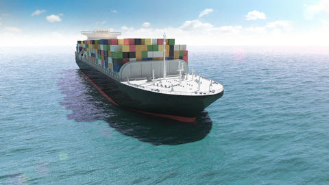 Cargo container ship in a sea Animation