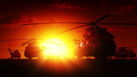 Helicopters at sunrise Stock Video Footage
