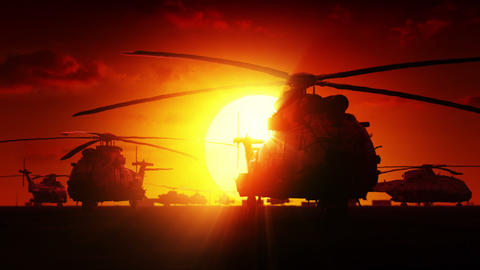 Helicopters at sunrise Animation