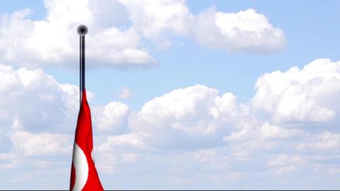 Animated Flag of Turkey / Türkei Stock Video Footage