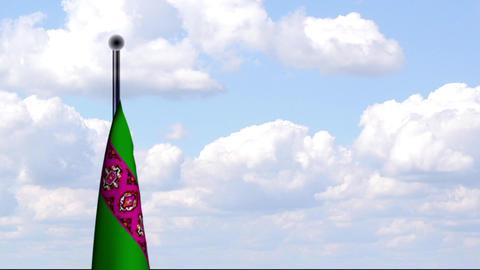 Animated Flag of Turkmenistan Stock Video Footage