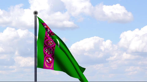 Animated Flag of Turkmenistan Stock Video Footage