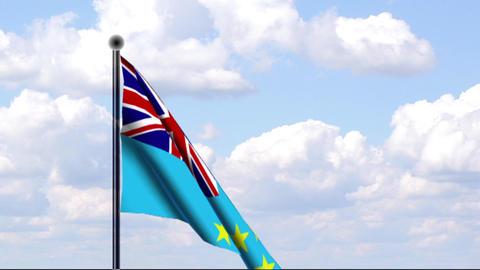 Animated Flag of Tuvalu Stock Video Footage