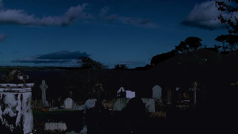 raven flying over graveyard at night Stock Video Footage