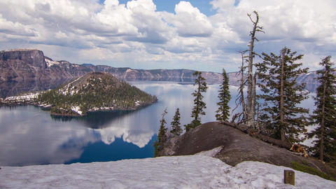 Pan shot of Crater Lake on a Cloudy Afternoon Stock Video Footage