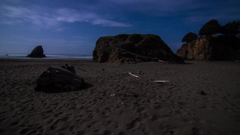 Night Stars and Clouds by the Beach Stock Video Footage