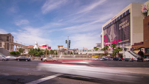 High Impact Busy Traffic On The Strip In Las Vegas stock footage