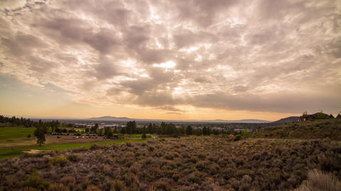 Cloudy Morning by a Golf Course in Bend Footage