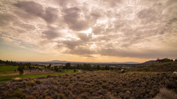 Cloudy Morning by a Golf Course in Bend Stock Video Footage