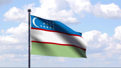Animated Flag of Uzbekistan / Usbekistan Stock Video Footage