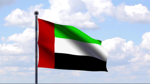 Animated Flag of United Arab Emirates Stock Video Footage