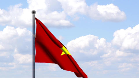 Animated Flag of Vietnam Stock Video Footage