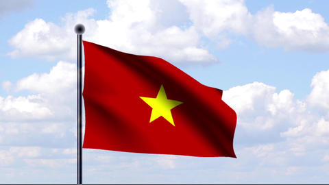 Animated Flag of Vietnam Stock Video Footage