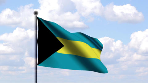 Animated Flag of Bahamas Stock Video Footage