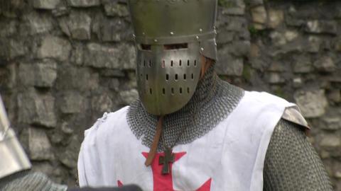medieval crusader 01 Stock Video Footage