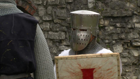medieval crusader 01 Stock Video Footage