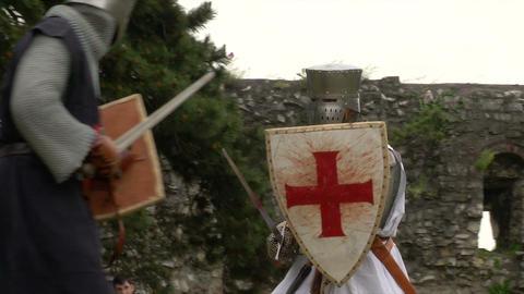 medieval crusader fighting 02 Stock Video Footage