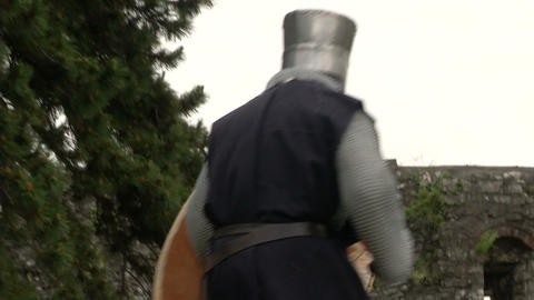 medieval crusader fighting 02 Stock Video Footage