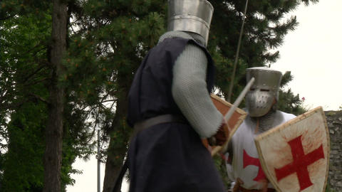 medieval crusader fighting 02 Footage