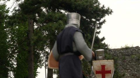 medieval crusader fighting 04 Stock Video Footage