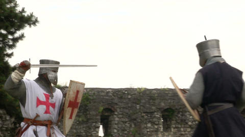medieval crusader fighting 04 Stock Video Footage