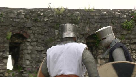 medieval crusader fighting 06 Stock Video Footage