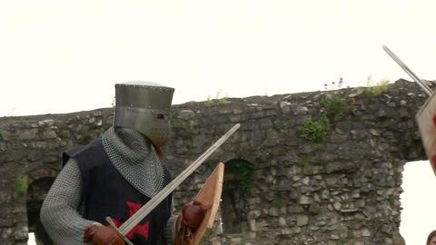 medieval crusader fighting 08 Stock Video Footage