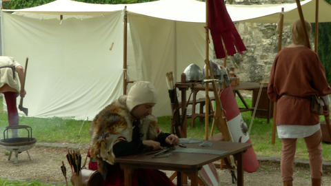 medieval encampment 14 e Stock Video Footage